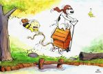 Snoopy and Charlie Brown by caiuaestaca
