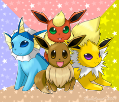 First Gen Eeveelutions by NightComet