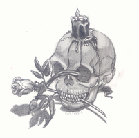 Demon Skull with Rose by inevitable-darkness