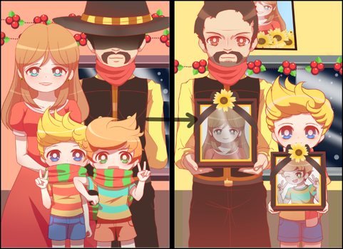 Mother 3 - Lucas's Family Christmas Pictures by DancerQuartz