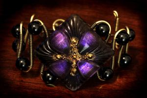 Steampunk Neo Victorian Bracelet - Purple Glass by CatherinetteRings