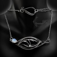 AGHTARIAL EYE - Silver, Black Onyx and Moonstone. by LUNARIEEN