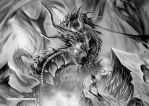 Burning Battle B and W by Dragolisco