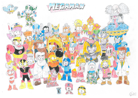Megaman Group Shot Poster by Cuddlesnowy