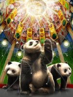 Pandas in Pagoda by clapano