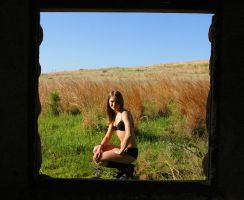 Black Lingerie Window Prairie by candhphotography