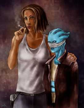 Marion and Felina in Rise of the Asari by AcrobaticRabbit