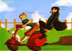 Tin Tin, Dog, Captain and Vespa by Stumppa