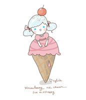 strawberry ice cream by pippipop