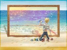 Finger Painting the Sea by SybLaTortue