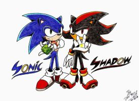 Sonic y Shadow by D4V1N5
