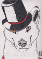 Wolf with a tophat by halomoon