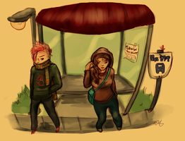 Bus Stop People by CrypticInk