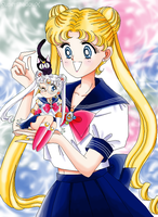 Usagi with Sailor Moon Doll Drawing by SuperShadowX