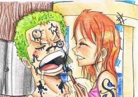 Zoro*Nami Cute face! :) by Babu-2