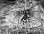 King Ghidorah by CorvenIcenail