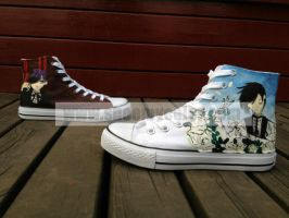 Black Butler Hand Painted High-top Canvas Shoes by elleflynn