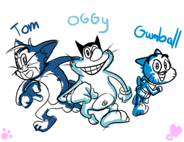 Blue Cats by OggyOggyJoey