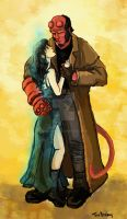 Hellboy and Liz by Dralamy