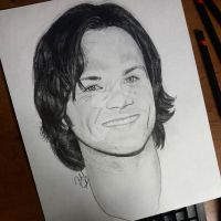 Jared Padalecki Pencil Drawing by jeffa7xheiny