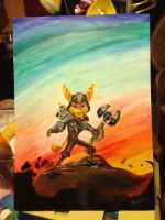 Ratchet and Clank Acrylic Painting by AimzzArt