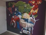 ULTIMATE AVENGERS HAND PAINTED WALL MURAL by ARTIEFISHEL79