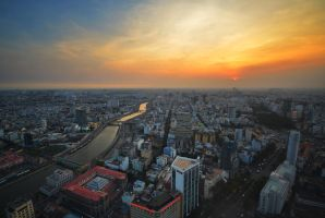 Saigon Sunset by comsic