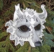 White Fantasy Wolf Mask by merimask