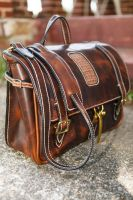 Horween weekender with Caiman Alligator inlay by MonicaJJacobson