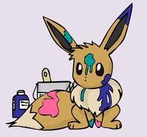 Eevee Paints by sunnyfish