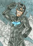 Nightwing Armored Sketch Card by ibroussardart