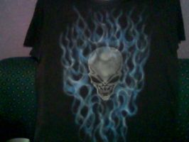 SKULL BLUE FLAMES by javiercr69