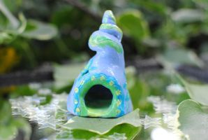 Blue Swirl Fairy House by Miss-Evergreen