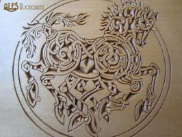 Sleipnir chip carving - detail of a trinket box by alesthewoodcarver
