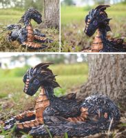 Wingless Dragon Sculpture by wideyedkitten11