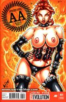 Naughty Hellfire Phoenix sketch cover commission by gb2k