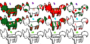 Christmas fox adoptables (CLOSED) by Silversadopts