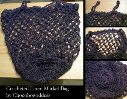 Crochet - Linen Market Bag by ChocoboGoddess
