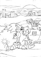 Sonic and Amy, darker lines by francobug