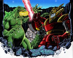 Godzilla vs Red Ronin Color by fbwash