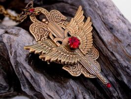 Ruby Dash - Gothic Brass Necklace by LeBoudoirNoir