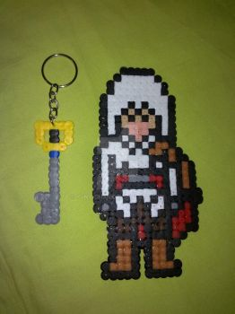 Perler Hama Beads ~ Keyblade and Ezio Auditore by Yuny-Chan