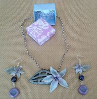 Purple and Blue Flower set by Rudjue