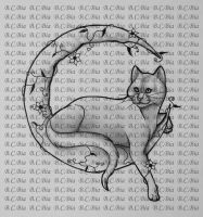 Cat on Moon - Tattoo sketch by BlackCat-Bia