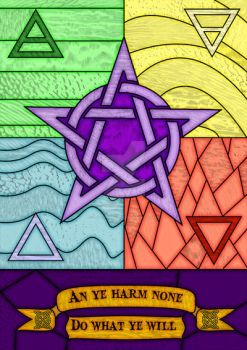 Stained glass Pentagram and Elements by unclefrogface