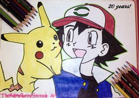 Ash and Pikachu~(20th Anniversary)-1 by TheKalosQueenSerena