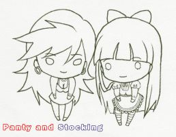 Panty and Stocking Lineart by suicidevegie