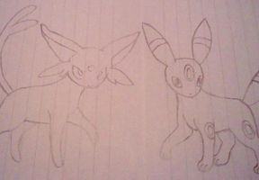 BFF contest entry: umbreon and espeon by pokefan444