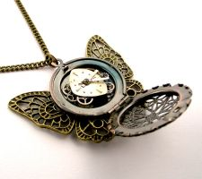 Butterfly Locket Pendant, steampunk by SteamSect