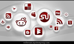 108 Red Pearl Soc. Media Icons by WebTreatsETC